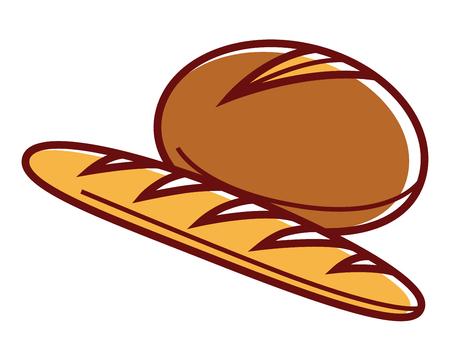 Fresh soft rye bread and long baguette isolated illustration Illustration