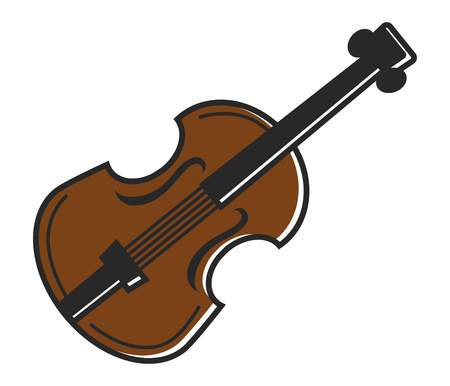 Violin fiddle musical instrument for traditional Australian music. Vector isolated flat icon of stirnged bass or contrabass Illustration