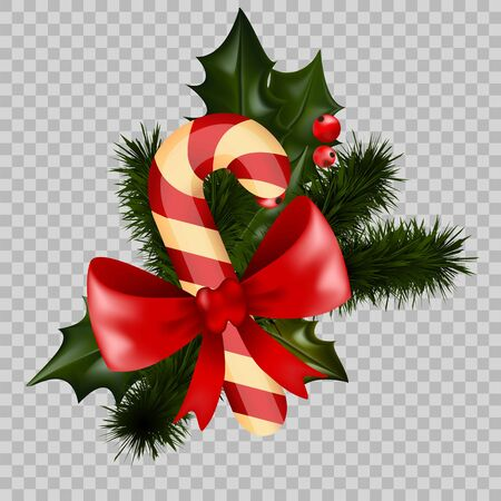 Christmas decoration holly fir wreath bow candy cane element vector transparent background Vettoriali