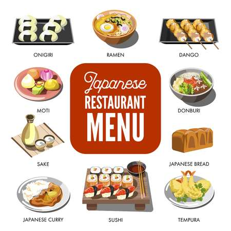 Japanese cuisine traditional dishes vector flat icons set Stock Photo