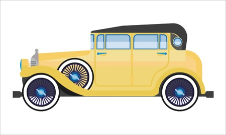 Oude auto of vintage retro verzamelaar auto wehicle vector platte pictogram