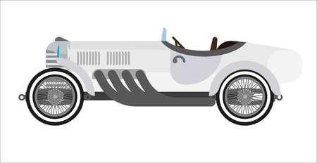 Coche deportivo viejo o automóvil de competición retro de la vendimia. Icono plano aislado de vector de carreras de coches de coleccionista veterano antiguo modelo de vehículo auto deportivo con tapa abierta