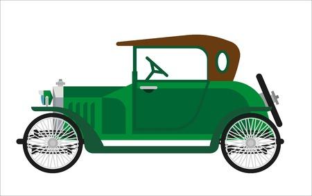 Oude auto of vintage retro auto voertuig. Antieke eeuw veteraancollector auto model met inklapbare cabriolet hardtop. Vector groene oldcar geïsoleerde plat pictogram