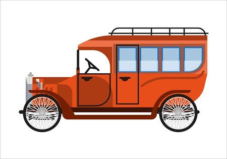 Oude auto of vintage retro bus minibusje automobiel van 30 of 40 eeuwvervoer van passagiersvervoer. Vector platte geïsoleerde pictogram van antieke veteraan verzamelaar klassieke minibus cabine automodel