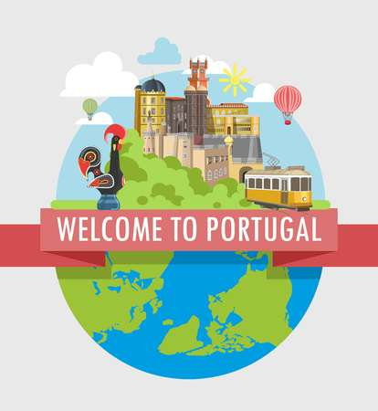layout: Welcome to Portugal travel poster of Portuguese famous landmark and tourist attractions on world globe. Lisbon yellow tram and rooster symbol, Porto castle or monastery architecture vector flat design