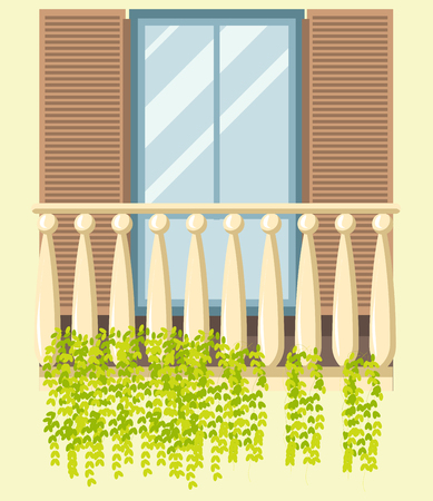 window view: House window and wooden classic balcony in retro old style with shutters. Glass frame window loggia with green plant decoration of modern, old and ancient apartments. Vector isolated flat icon Illustration
