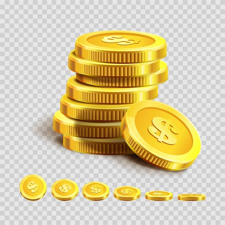 Golden coins piles or money bank gold coin heaps on vector transparent background Stock Illustratie
