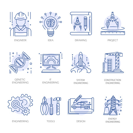 construction: Engineering construction energy technology vector line icons set
