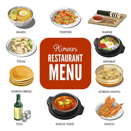 Korean cuisine traditional dishes vector flat icons set Illustration