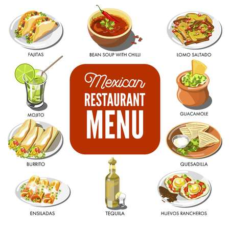lomo: Mexican food cuisine vector traditional dish icons for restaurant menu
