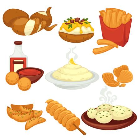 Bocados de platos de comida de patata y productos cocidos iconos planos de vectores Ilustración de vector