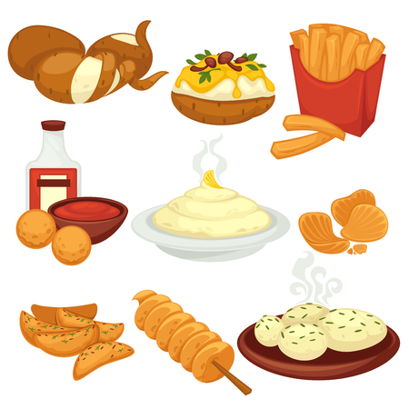 Piatti di cibo di patate spuntini e prodotti cucinati vector icone piane Vettoriali