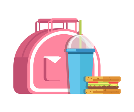 School lunch meal box breakfast snadwich and milkshake drink vector flat icon