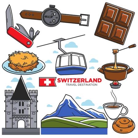 Switzerland travel sightseeing icons and vector Swiss tourism landmarks symbols Stock Vector - 86139945