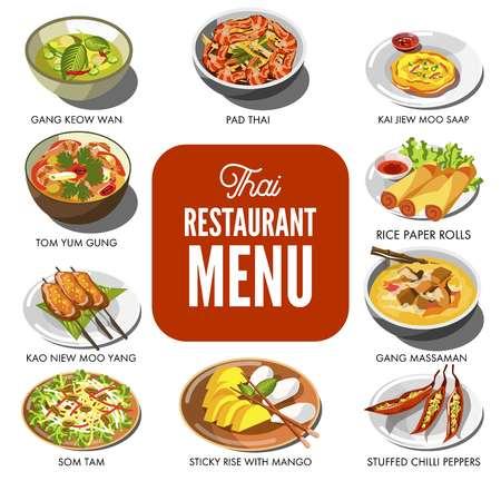 Thaise keuken eten traditionele gerecht vector iconen voor Thailand restaurant menu