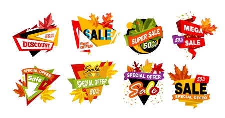 Autumnal discount emblems with dry colorful leaves isolated cartoon flat vector illustrations set on white background.
