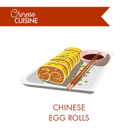 Chinese egg rolls served with soy sauce and chopsticks isolated cartoon flat vector illustration on white background.