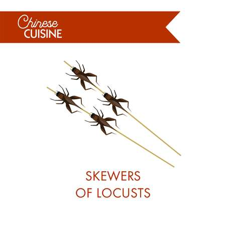 Wooden skewers of fried brown locusts from Chinese cuisine isolated cartoon flat vector illustration on white background. Illustration