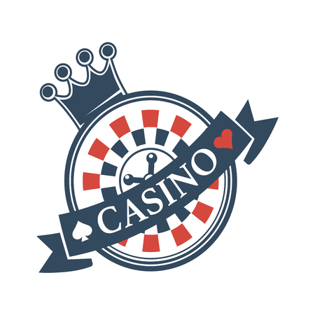 Luxury casino isolated emblem with crown and roulette Illustration