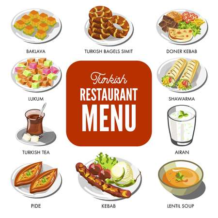 Icons for Turkey restaurant menu