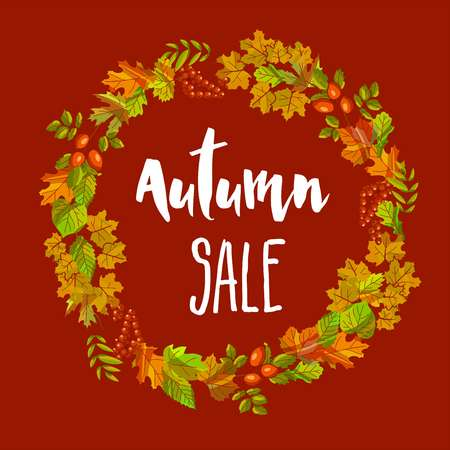 Autumn sale poster of vector fall leaf foliage wreath