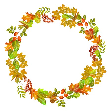 Autumn of fall leaf foliage wreath vector design template