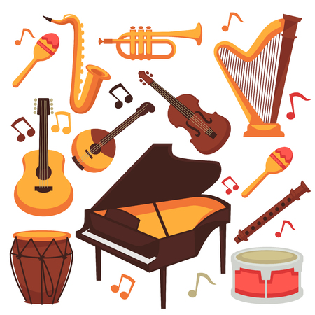 Musical instruments and music notes vector isolated flat icons set Illustration