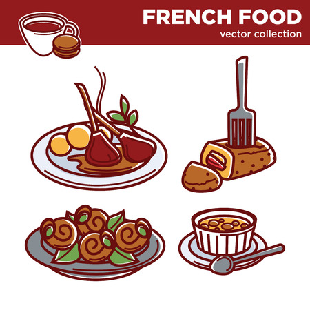 French cuisine food dishes vector icons for restaurant menu
