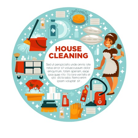 House cleaning poster of housewife housemaid and vector home clean tools