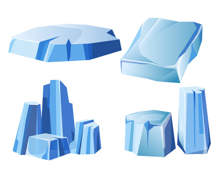 Ice rock, iceberg or icy frozen snow mountain vector icons set