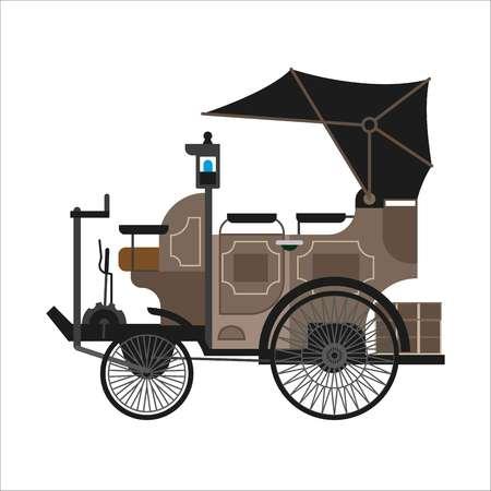 Oude auto of vintage retro verzamelaar auto vector platte pictogram Stock Illustratie