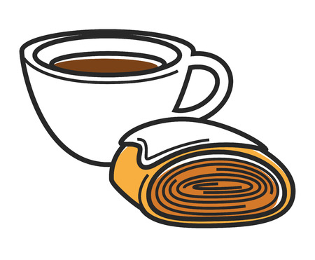 Cup of hot coffee and tasty bun of puff dough covered with sweet tender cream isolated vector illustration on white background. Delicious Austrian breakfast of hot beverage and bakery product.