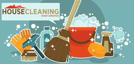 House cleaning vector collection of shiny work equipment isolated illustration on blue background. Wooden broom, plastic basket, bottles of cleaners, rubber gloves, brushes for surfaces and glass. Illustration