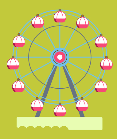 Huge ferris wheel with round cabins isolated cartoon flat vector illustration on green background. Safe attraction from amusement park for children and grown-ups that allows to see amazing view. Çizim