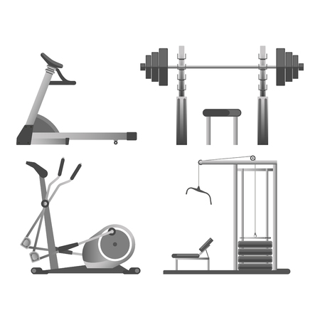 Training apparatus with heavy blocks, modern orbitrek and black weights on rods for all kinds of physical load on solid metal stands isolated cartoon vector illustrations set on white background. Illustration