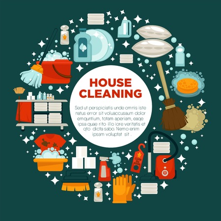 House cleaning service promotional emblem with work equipment in big circle with shiny sparkles isolated cartoon flat vector illustration on green background. Tools to make dishes and surfaces clean. Illustration