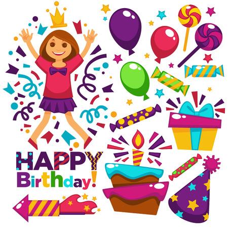 Happy Birthday greeting card or postcard gift template design. Vector girl princess birthday party celebration festive balloons. Illustration