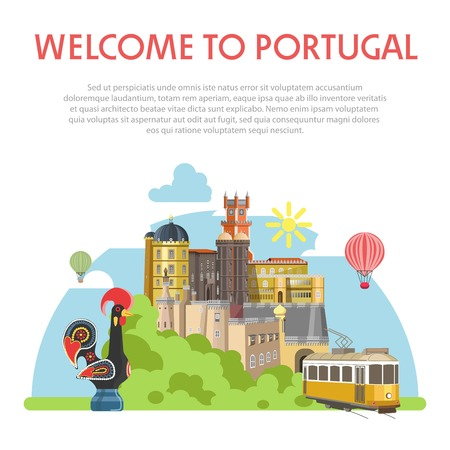Welcome to Portugal informative poster with ancient architecture, rooster made of clay with ethnic ornament, classic tram, thick bushes and text sample isolated vector illustration on white background.