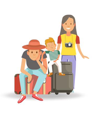 Family with bags and suitcases ready for journey. isolated vector illustration.
