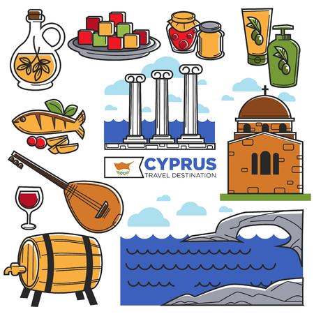 Simboli dei punti di riferimento di viaggio del Cipro ed icone turistiche di vettore turistiche