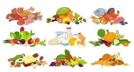 食品のパンとベーグル、酪農乳製品牛乳やチーズ、ベジタリアン野菜、果物、魚のシーフードと屠肉、有機原料食品豆ナッツとベリー。ベクトル フ