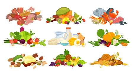 Food products of bread buns and bagels, dairy creamery milk or cheese, vegetarian vegetables and fruits, fish seafood and butchery meat, organic raw food bean nut and berry. Vector flat grocery icons Çizim