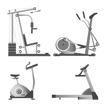 Training apparatuses from gym isolated monochrome vector illustrations set on white background. Equipment for sport for all muscles groups with weights and for active movements to keep body fit. 向量圖像