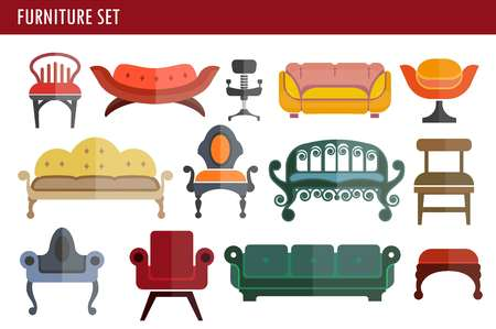 Furniture sofa couch, chair and armchair home room interior seats vector icons