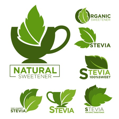 Natural sweetener promotional emblems set with cups and mint leaves