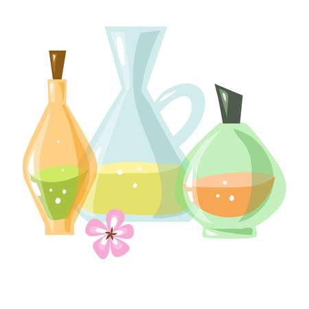 Glass bottles of aromatic liquids and small pink flower Vektoros illusztráció