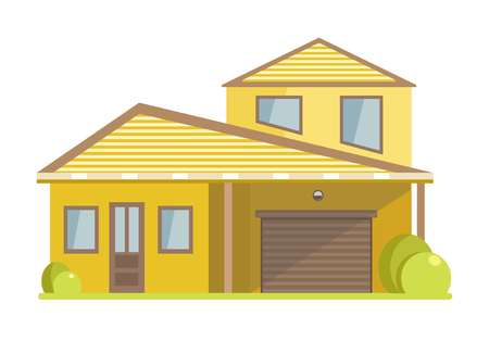 Facade of small house with yellow walls and spacious garage