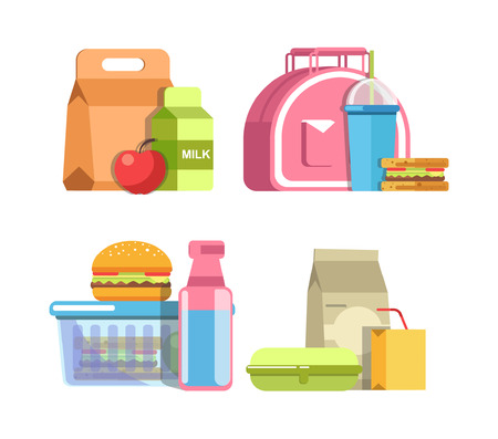 School lunches in special containers and inside pink bag Illustration