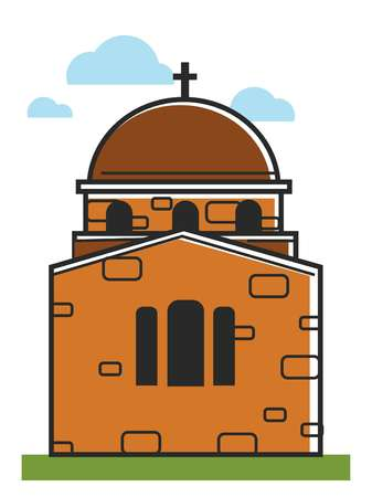 Cyprus cathedral or orthodox monastery symbol Greek tourism travel architecture vector icon