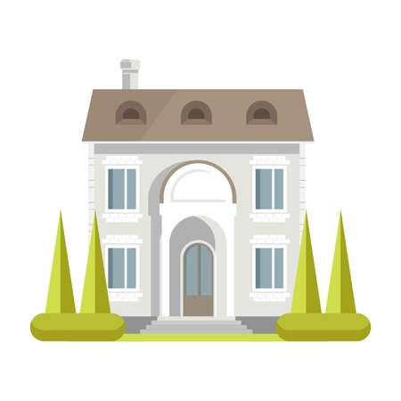 Facade of rich two-storey brick house with neat lawn Illustration